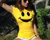 Smiley Face T Shirt // Yellow Smile Tee Shirt