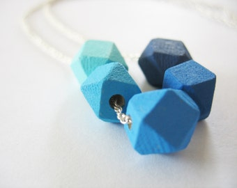 Blue Cube Necklace Ombre Wooden Geometric Cubes Silver Chain Hand Painted
