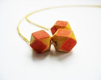 Orange Geometric Cube Necklace Trio Natural Wood Goldtone Link Chain Handpainted
