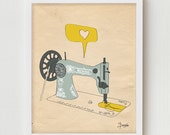 Sewing Machine Print Art, Giclee Print Sewing Wall Decor, Sewing Machine Poster Room Decor, Giclee Singer Sewing Machine Art Print