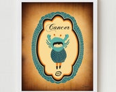 CANCER Zodiac Sign, Astrology Horoscope, Astrological Sign, Cancer Constellation, Cancer Print Art Illustration Poster, Constellation Art