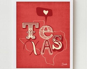 "Texas Print Art Wall Hanging ""I Heart Texas""  Map Print Wall Decor, State of Texas Wall Hanging in Red, Blue or Yellow"