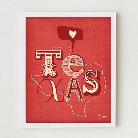 "Texas Print Art Wall Hanging ""I Heart Texas""  Map Print Wall Decor, State of Texas Wall Hanging in Red, Blue or Yellow"