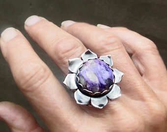 Lotus Flower Bliss Ring with Charoite, Adjustable Ring, Mixed Metal, Bohemian, Gypsy, Big Statement Ring, Heart and Crown Chakra