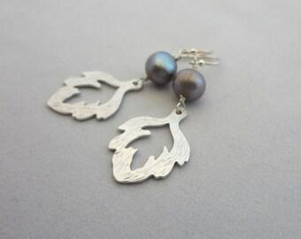 Pearl Flame Earrings