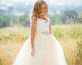 NEW! The Juliet Dress in Ivory/Light Gold with Rhinestone Sash - Flower Girl Tutu Dress