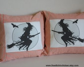 Halloween Pillows - Flying Witch Pillow Cover in Orange Ticking