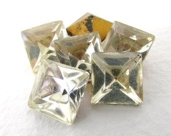 Vintage Rhinestone Jewels Clear Glass Faceted Square 10mm rhs0538 (6)