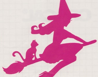 Cat and Pin Up Witch Silhouette, Hot Pink Vinyl Decal