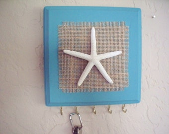 Starfish key holder, wall hook, jewelry organizer, beach wall hook, starfish wall hook.
