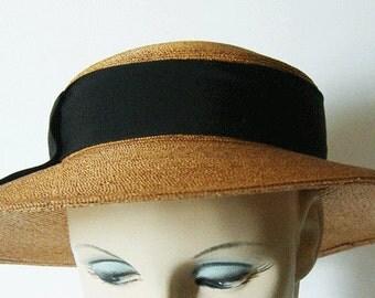 Vintage 1940's Widebrim Women's Summer Straw Hat