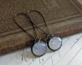 Moonstone Jewelry Faceted Glass Earrings Long Arched Earwires Stained Glass