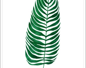 Palm plant  flower print watercolour art decor home ink graphic poster