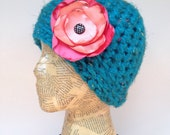 Crocheted Turquoise Blue Beanie Hat with Removable Coral, Polka-Dot, Black and White Flower Pin