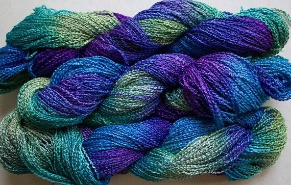 Lark Hand-dyed Fine Rayon Boucle Yarn 300 yds by robinjedmundson