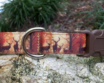 Deer in the Forest Dog Collar, In M, L, XL