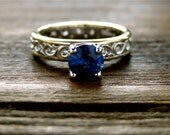 Deep Blue Sapphire Engagement Ring in Two Tone 14K White and 14K Yellow Gold with Floral Scroll Motif Size 5/3.5mm