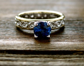 Deep Blue Sapphire Engagement Ring in Two Tone 14K White and 14K Yellow Gold with Floral Scroll Motif Size 5