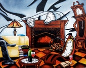 Original Art Print, by k Madison Moore, Clocks on Fireplace, Pile of Books, ReadingBooks, Big Tall Clock, Drinking Red Wine, Yellow Sofaor