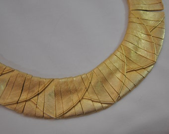 1970s LES BERNARD Egyptian Revival Modernist Gold Plate Haute Couture Articulated Panels Fitted Vintage Choker Necklace