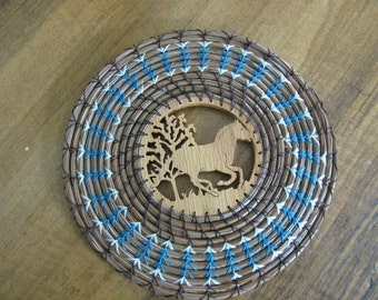 Pine Needle Wall Hanging/Trivet with Scroll Sawn Center