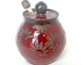 Red Paisley  Honey Pot