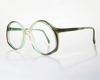 Vintage Green Eyeglasses Eyeglass Frames 1970s Italian Italy Optical Womens Ladies Girls 70s Grasshopper Olive Olivine Round Angular