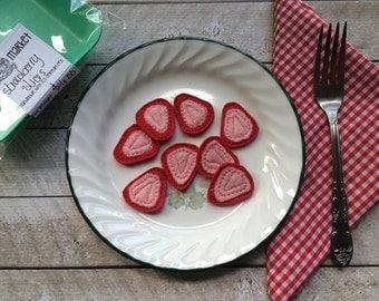 Felt Food Sliced Strawberries