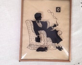 Vintage SILHOUETTE Convex Glass Framed Picture 4x5 Smoking Man in Chair, Cat