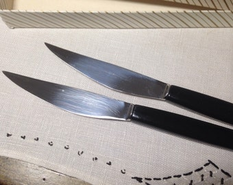Vintage Robeson Steak Knife Box Set 6 Mid Century Knives 50s Black Handle