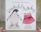 Penguin paper doll birthday card - cut out penguin - animal card