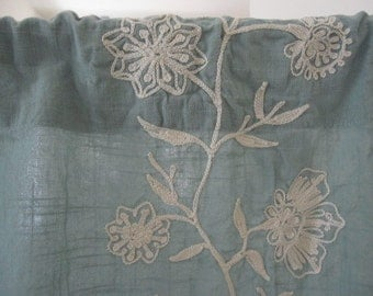 Floral Embroidered Curtains, Set of 2 Seafoam Green Floral Embroidered Cafe Curtains