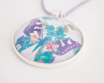 butterfly necklace, boho summer jewelry, purple & blue butterfly pendant, bohemian watercolour
