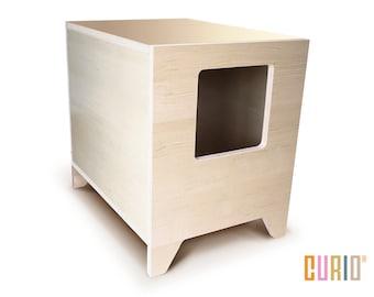 CURIO in Maple | Modern Cat Litter Box | Designer Cat House | Cat Furniture | Pet House | Mid Century Modern | Ready To Ship