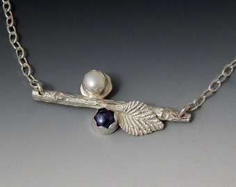 Organic Branch and Pearl Sterling Bar Necklace