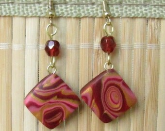 Burgundy and Gold Dangle Square Beaded Earrings - Tribal Inspired Handmade Jewelry
