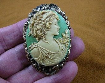 Noble Lady with flowers flower in her hair shoulder CAMEO  brass Pin pendant Brooch jewelry CL14-29