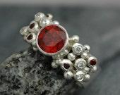 Red-Orange Spessartine Garnet and Diamond Melee Ring in Sterling Silver