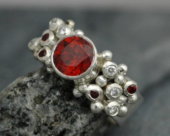 Red-Orange Spessartine Garnet and Diamond Melee Ring in Sterling Silver