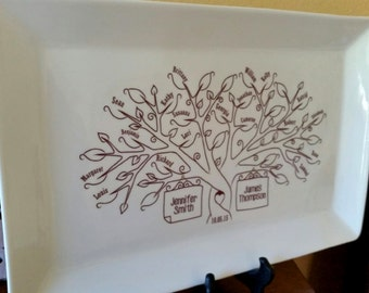 Large Family Tree Platter--Bride and Groom Wedding Gift for Parents