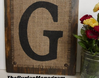 Burlap Rustic Monogram Letter G painted Brown, Monogram G Wood, JUTE SIGN Letters Custom G,  BROWN wood or you choose color and letter