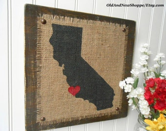 BURALP California Sign, ready to Hang, CALIFORNIA primitive Burlap Painted Sign, Rustic Burlap CA Sign, Distressed Brown Ca Burlap Sign