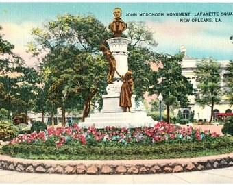 Vintage New Orleans Postcard - The John McDonogh Monument in Lafayette Square (Unused)
