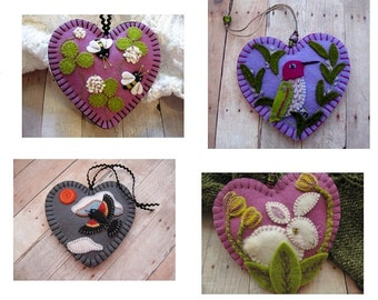 Made to Order Embroidered Ornaments - Choose All in Clover, Hummingbird in Rosemary, Red-Winged Blackbird, or White Rabbit in Tulips
