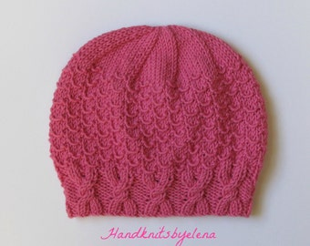 "Instant Download #214 Knitting Pattern Hat ""Gabrielle"" for a Lady"