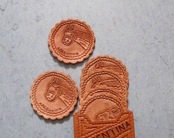 Vintage Leather Coasters / Hand Tooled Leather Argentina Horse Design / Vintage Drink Coasters