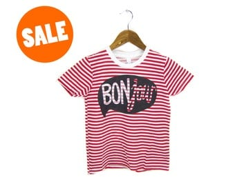 SAMPLE SALE - BONjour Tshirt - Hand Stenciled Striped Tee in Custom Red and White Stripe with Black - Women's XXS or Youth 8 Q