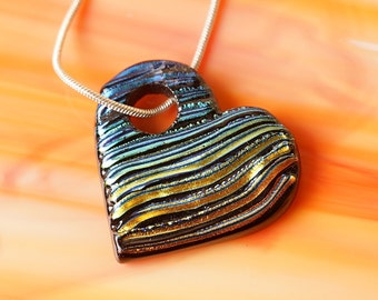 Handmade Dichroic Fused Glass Necklace ...Rainbow HEART...