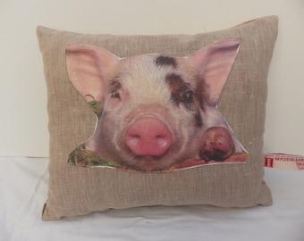 Piglet Hampton Stripe / Chocolate Cushion or Pillow Cover