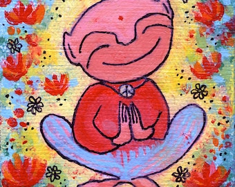 My Little Yogi original, acrylic yoga painting